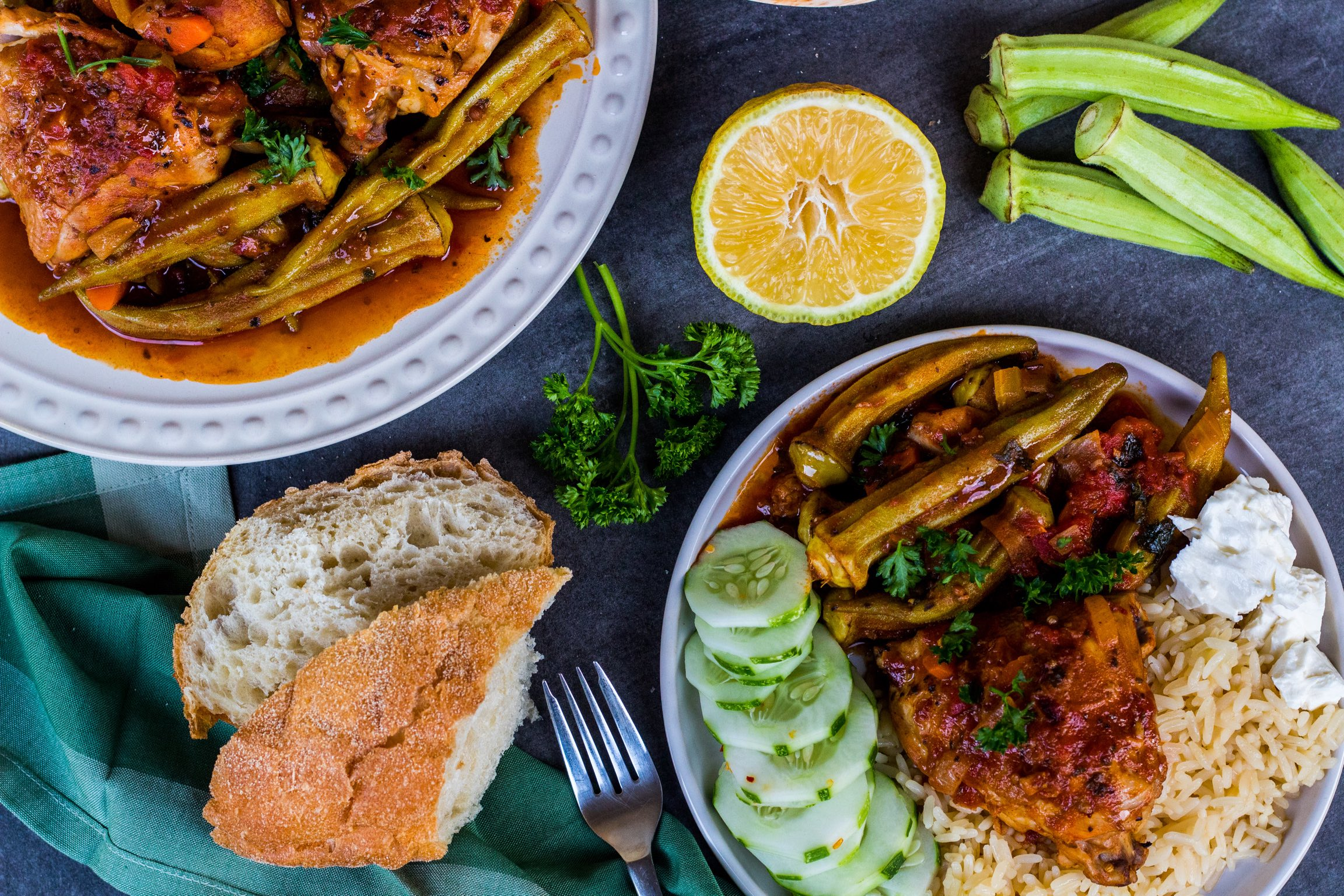 Greekstyle Braised Okra (bamies) with Chicken