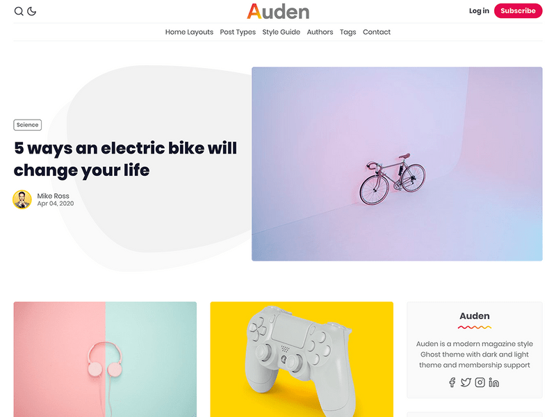 Auden - Magazine & Membership Ghost Theme