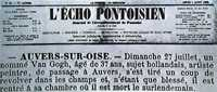 Article on Van Gogh's death from L'Écho Pontoisien, 7 August 1890