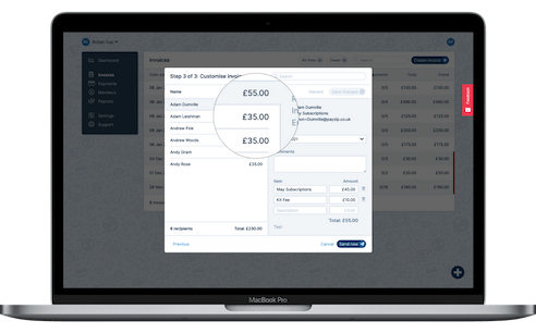 A screenshot showing the creation of invoices, particularly how easy it is to set custom amounts for certain members