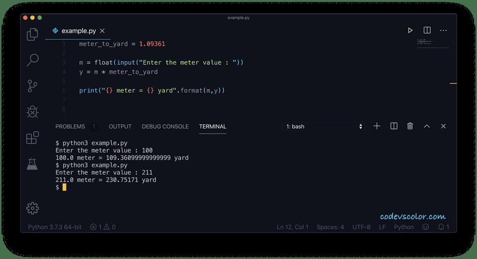 Python meter to yard