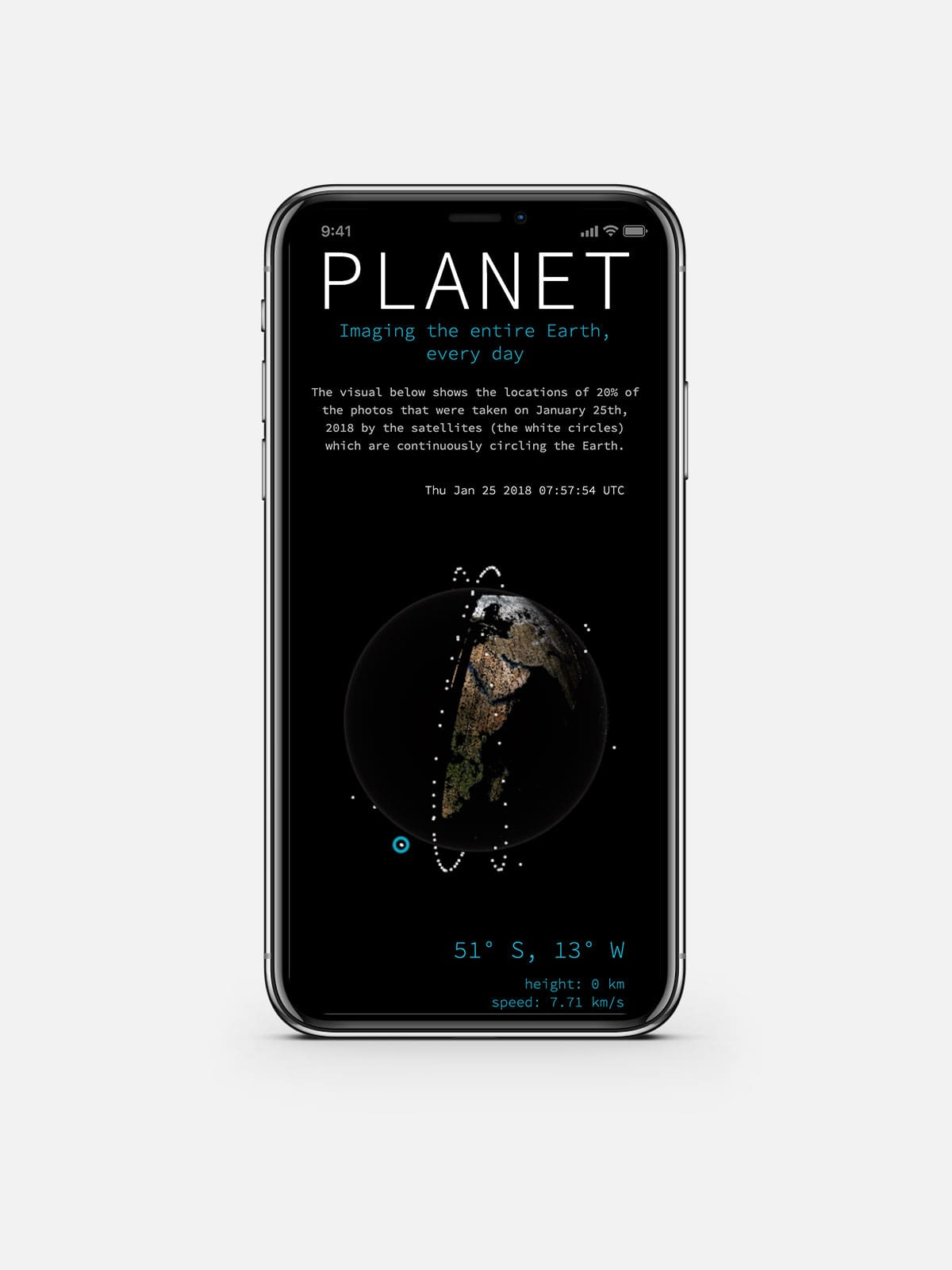 The mobile screen version of Planet's globe visual