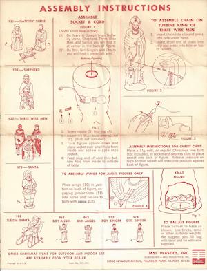 MSL Plastics Nativity Scene #931, Shepherd #932, Three Wise Men #933, Santa #975, Sleigh Santa #988 & 4 others Instruction Manual.pdf preview