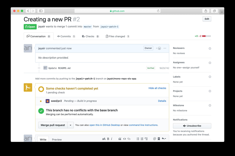 GitHub PR Seed status check in progress
