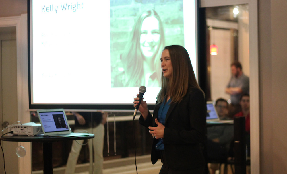 Awesome Inc Bootcamp student Kelly Wright presents at Demo Day F16