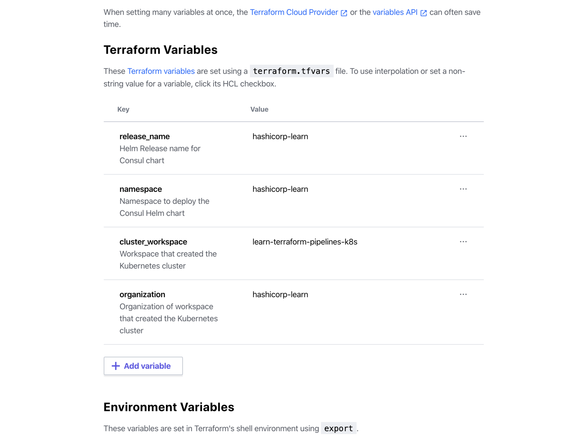 Terraform Cloud Consul Workspace fully configured Terraform variables