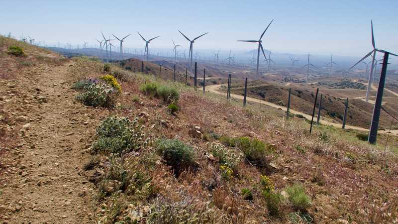 Walking on a ridge at the wind farm