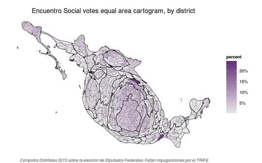 Equal area cartogram of Partido Encuentro Social