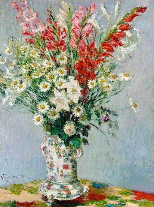 Monet's Bouquet of Gadiolas, Lilies and Dasies was sold by Sotheby's New York for $9.556 million in November 2018