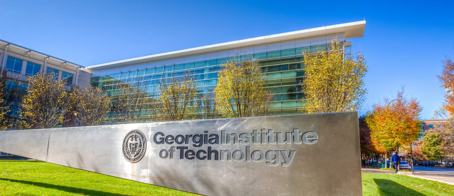 Up close image of the Georgia Tech sign on a campus