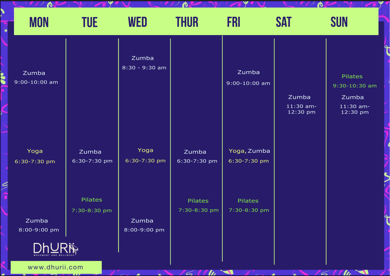 Fitness classes schedule