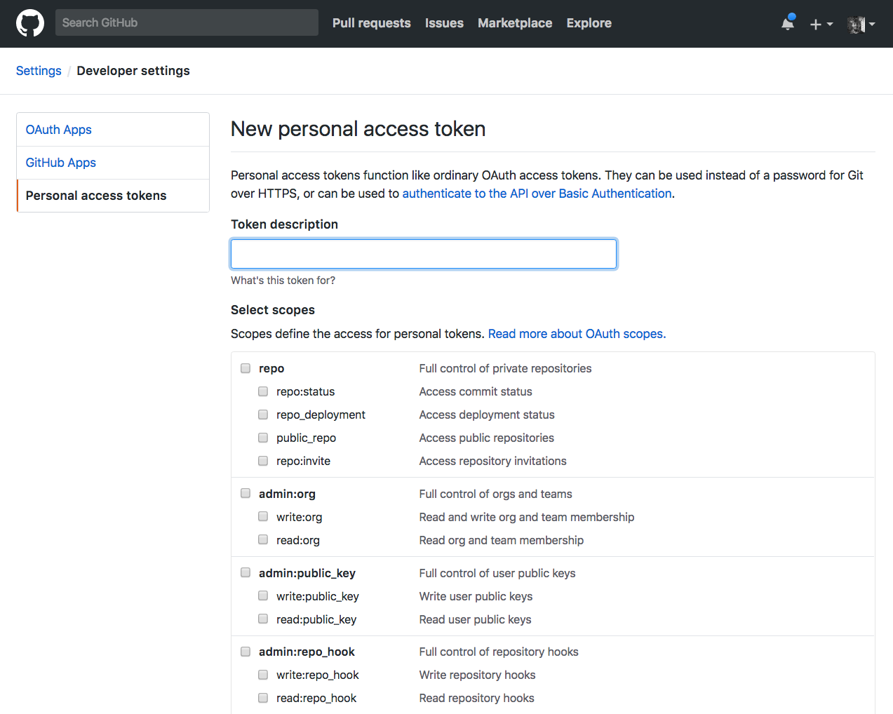 GitHub interface to create a new personal access token