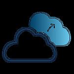 Ícone de com uma nuvem enviando dados para outra nuvem, representando backup e disaster recovery