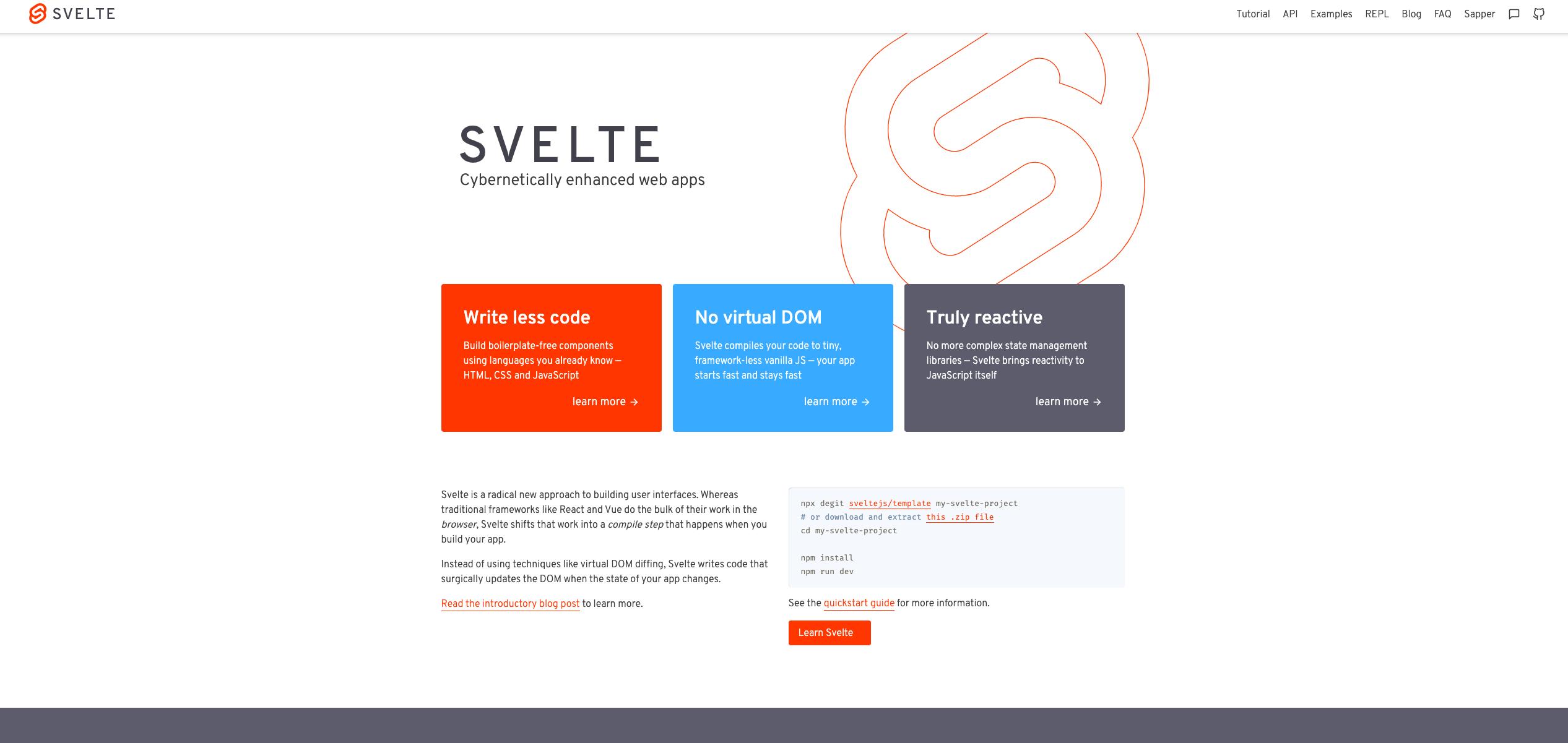 Svelte website UI