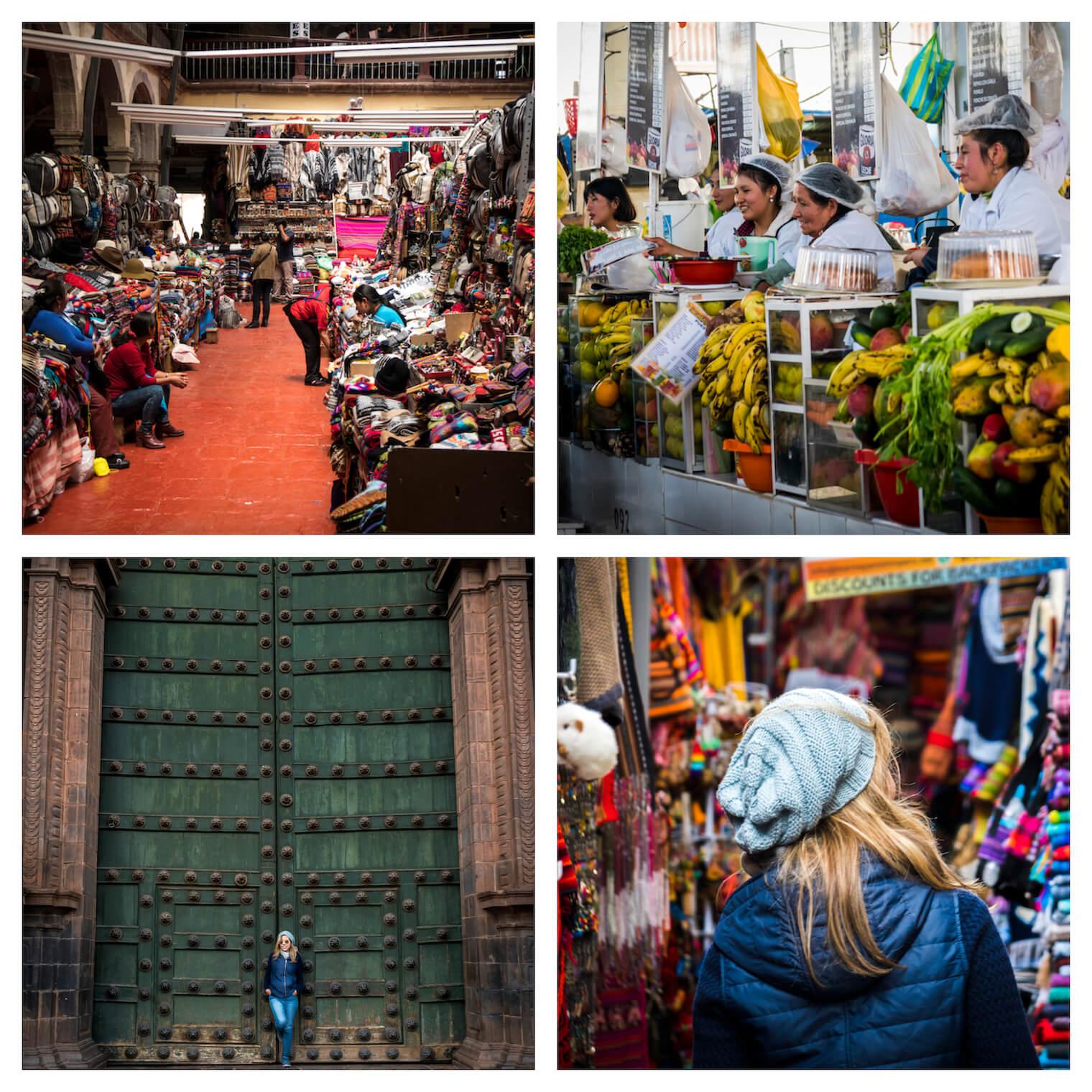 4 Fotos de Cusco - Uma feira de artesanato, mulheres de branco vendendo frutas, um portão verde bem grande com uma garota na frente, uma garota de costas perto de várias coisas coloridas
