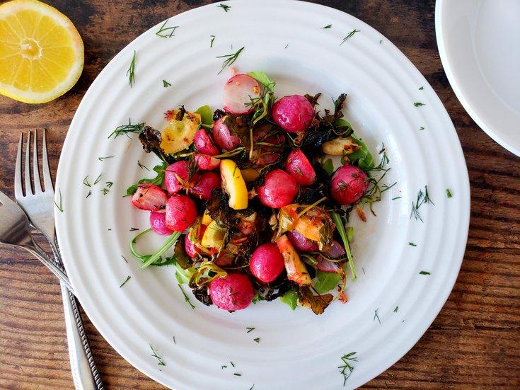 Lemon roasted radishes with dill