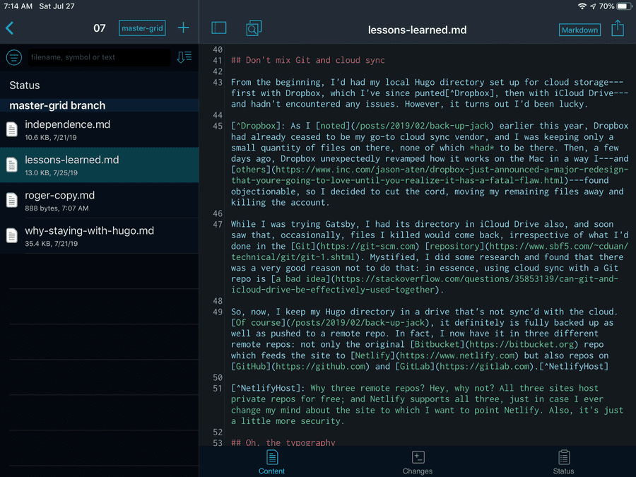 """""""iPad screen capture: Working Copy display showing its built-in text editor"""""""