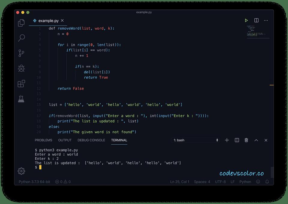 Python remove occurrence word list