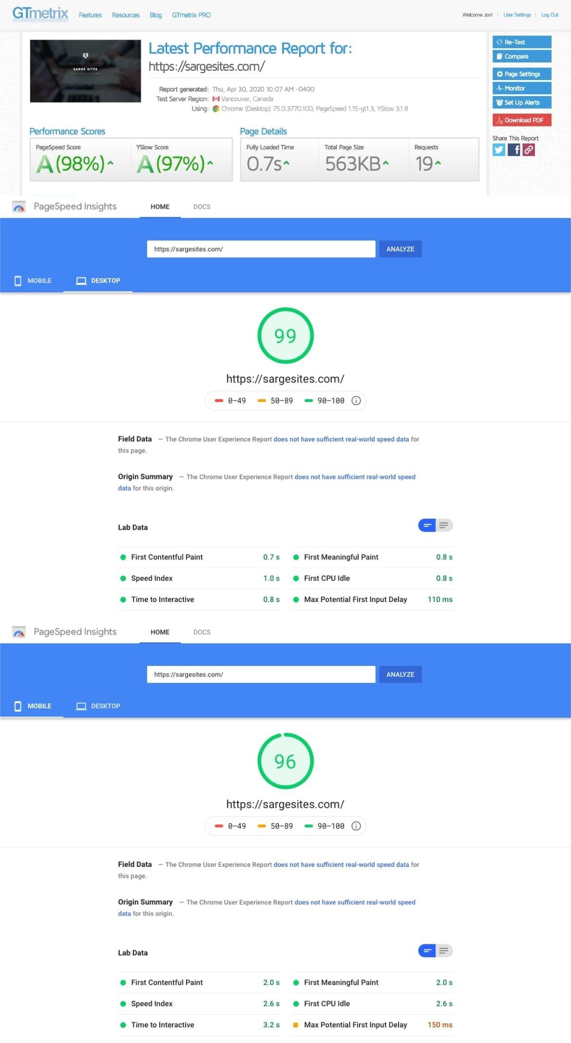 Sarge Sites Website Performance Metrics