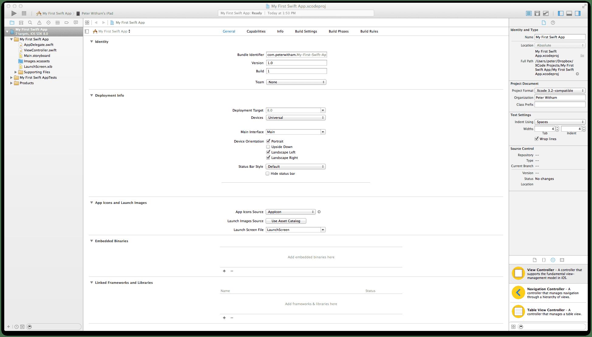 Xcode 6 - New Swift Application Default Start