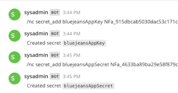 Secret add bluejeansAppKey