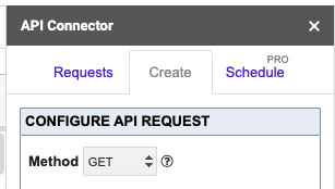 Showing Create window of API Connector with Method set as Get