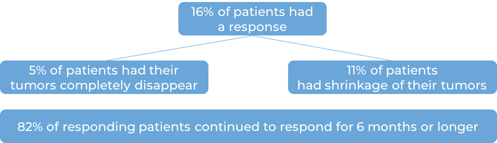 Results for Keytruda when patients were previously treated with chemotherapy (diagram)