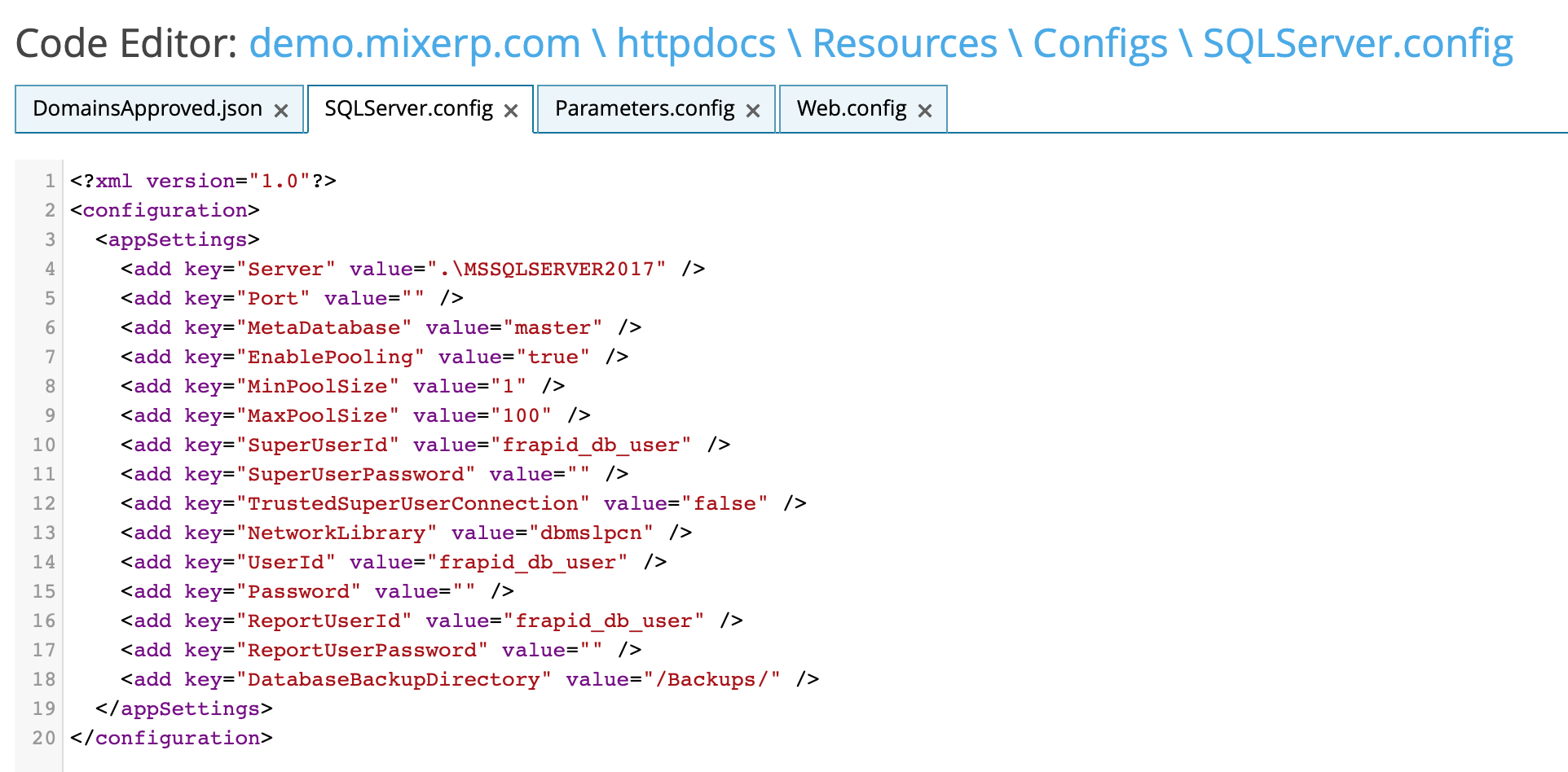 SQLServer.config file