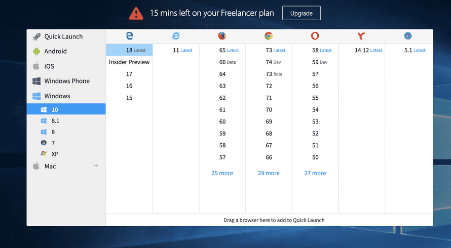 BrowserStack open screen