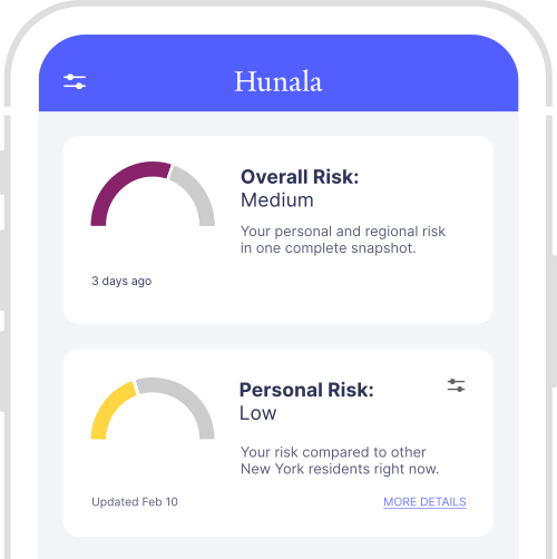 A screenshot of the Hunala mobile app dashboard.