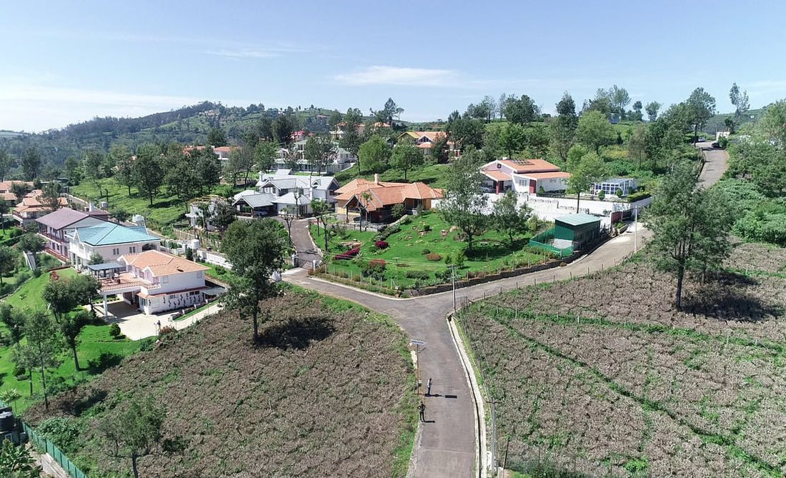An eagle eye view of the homes at Sua Serenitea, Drumella estate community, Coonoor