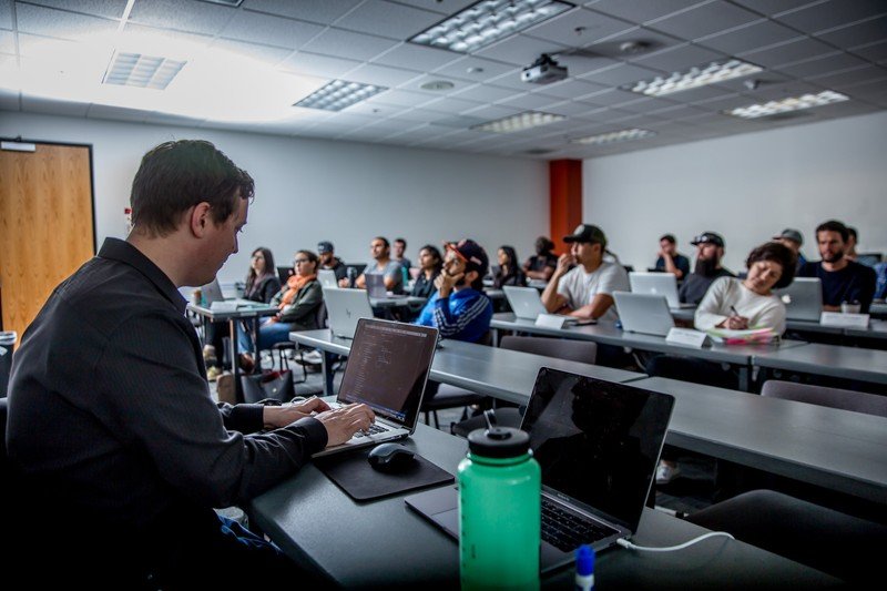 Faculty teaching a class at a UC San Diego coding boot camp