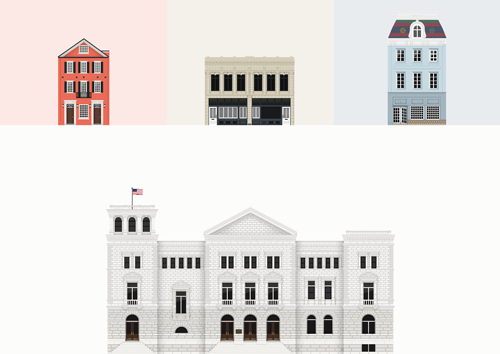 Small digital drawings of Charleston buildings