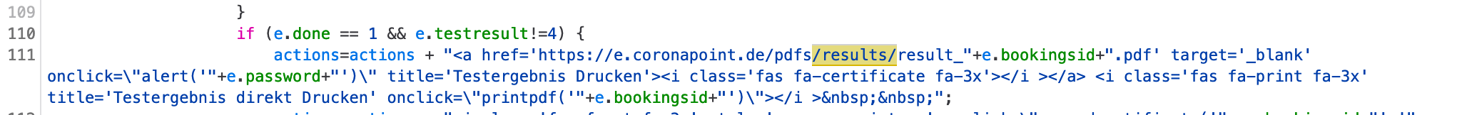 Screenshot des Quelltext in dem eine URL zusammengebaut wird