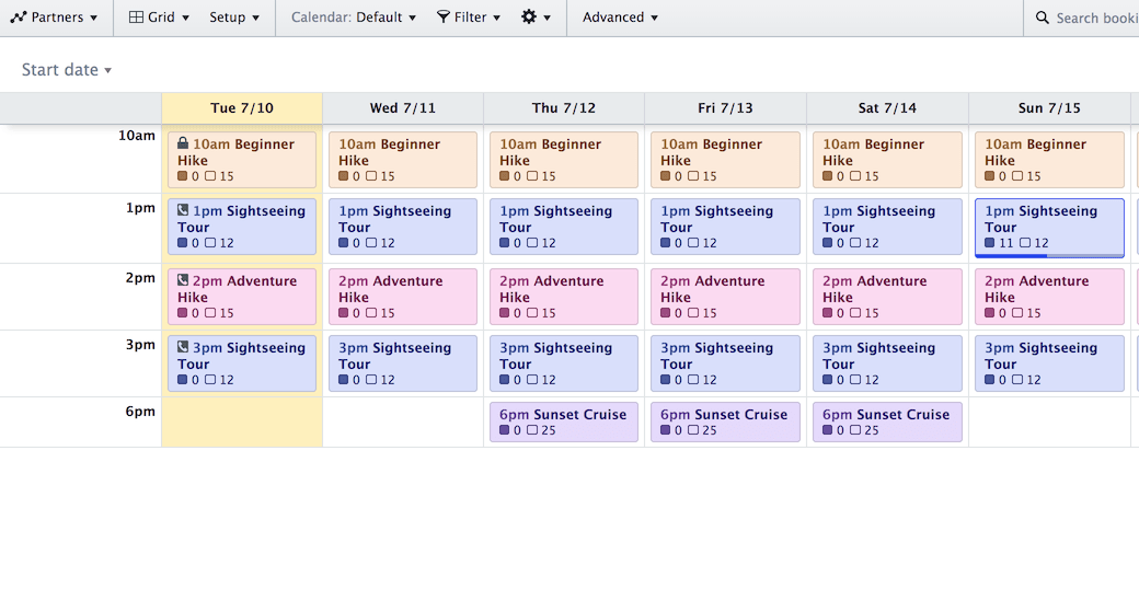 Screenshot of the Grid View showing a weekly schedule organized by day and activity.