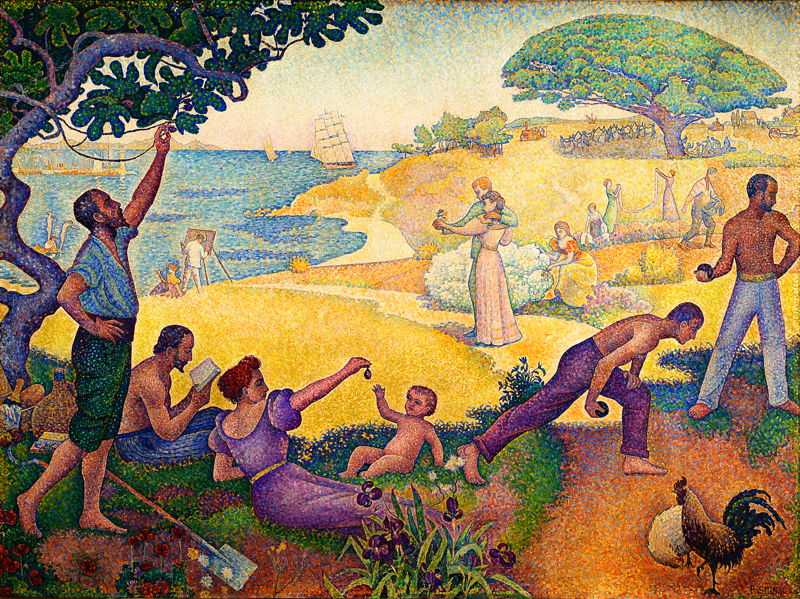 'In the Time of Harmony: the Golden Age is not in the Past, it is in the Future' by Signac in 1893–95, currently at Mairie de Montreuil, Paris