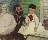 Count Lepic and His Daughters by Edgar Degas, 1870, stolen