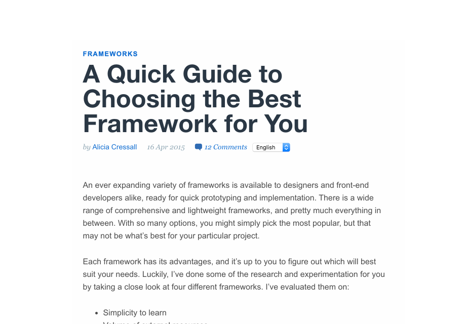 A Quick Guide to Choosing the Best Framework for You