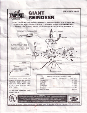 Empire Giant Reindeer #1649 Instruction Manual (1995-09-05).pdf preview