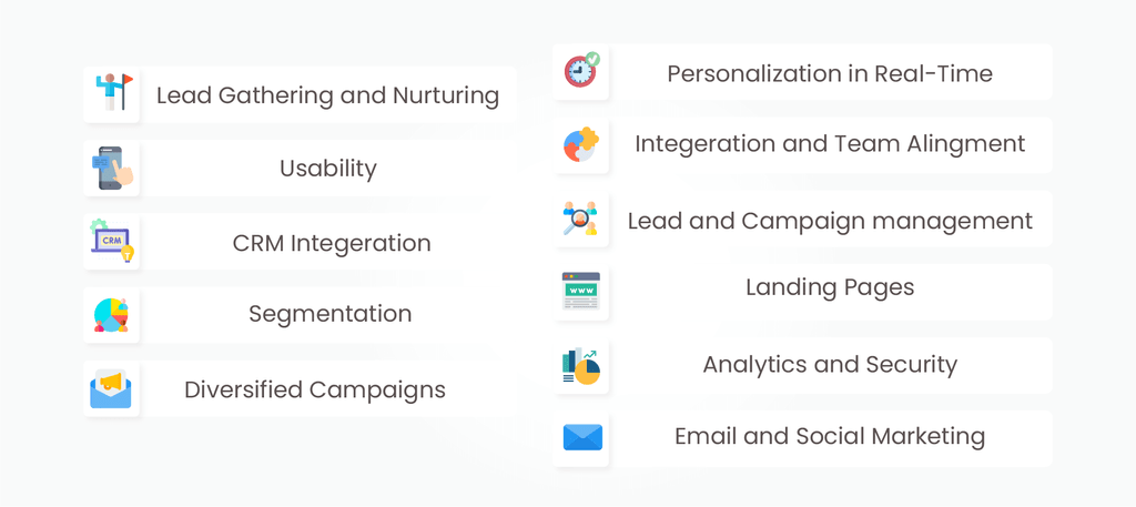 marketing automation features and requirements