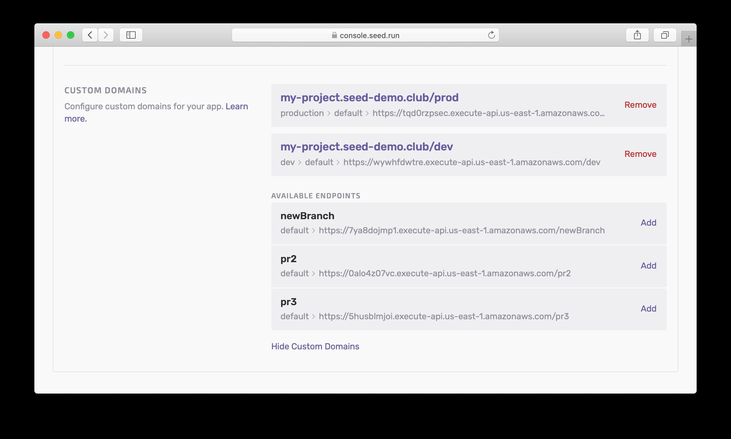 Managing Serverless Custom Domain in Seed