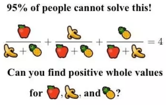 10.2: Diophantine equations such as finding a positive integer solution to the equation a(a+b)(a+c)+b(b+a)(b+c)+c(c+a)(c+b)=4(a+b)(a+c)(b+c) (depicted more compactly and whimsically above) can be surprisingly difficult. There are many equations for which we do not know if they have a solution, and there is no algorithm to solve them in general. The smallest solution for this equation has 80 digits! See this Quora post for more information, including the credits for this image.