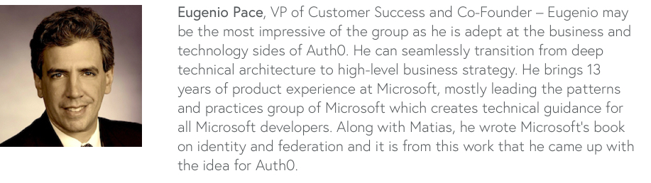 Headshot photo and bio for Eugenio Pace the VP of Customer Success and Co-Founder
