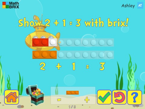 Basic addition up to 5 using brix Math Game