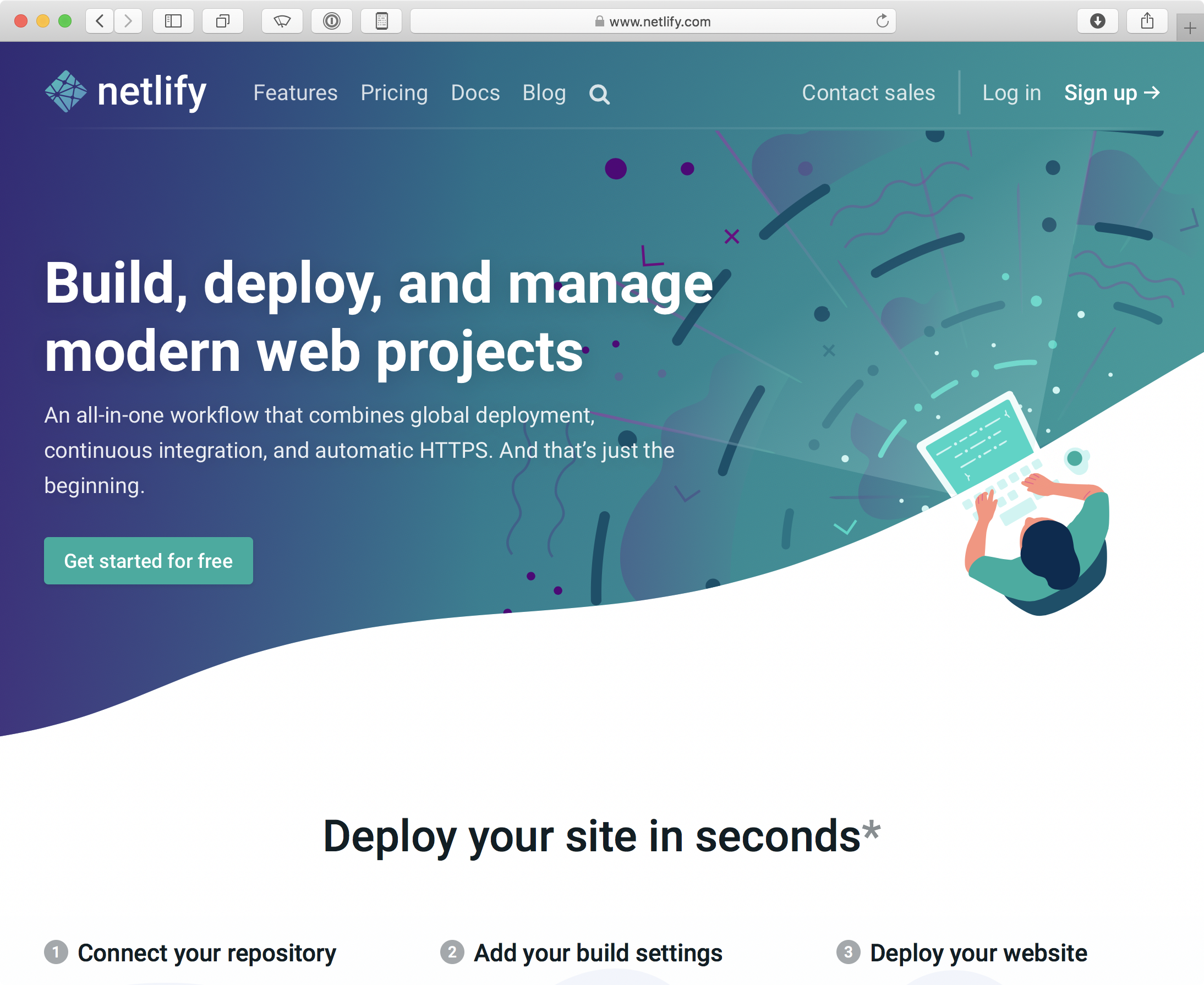 Screenshot of Netlify website