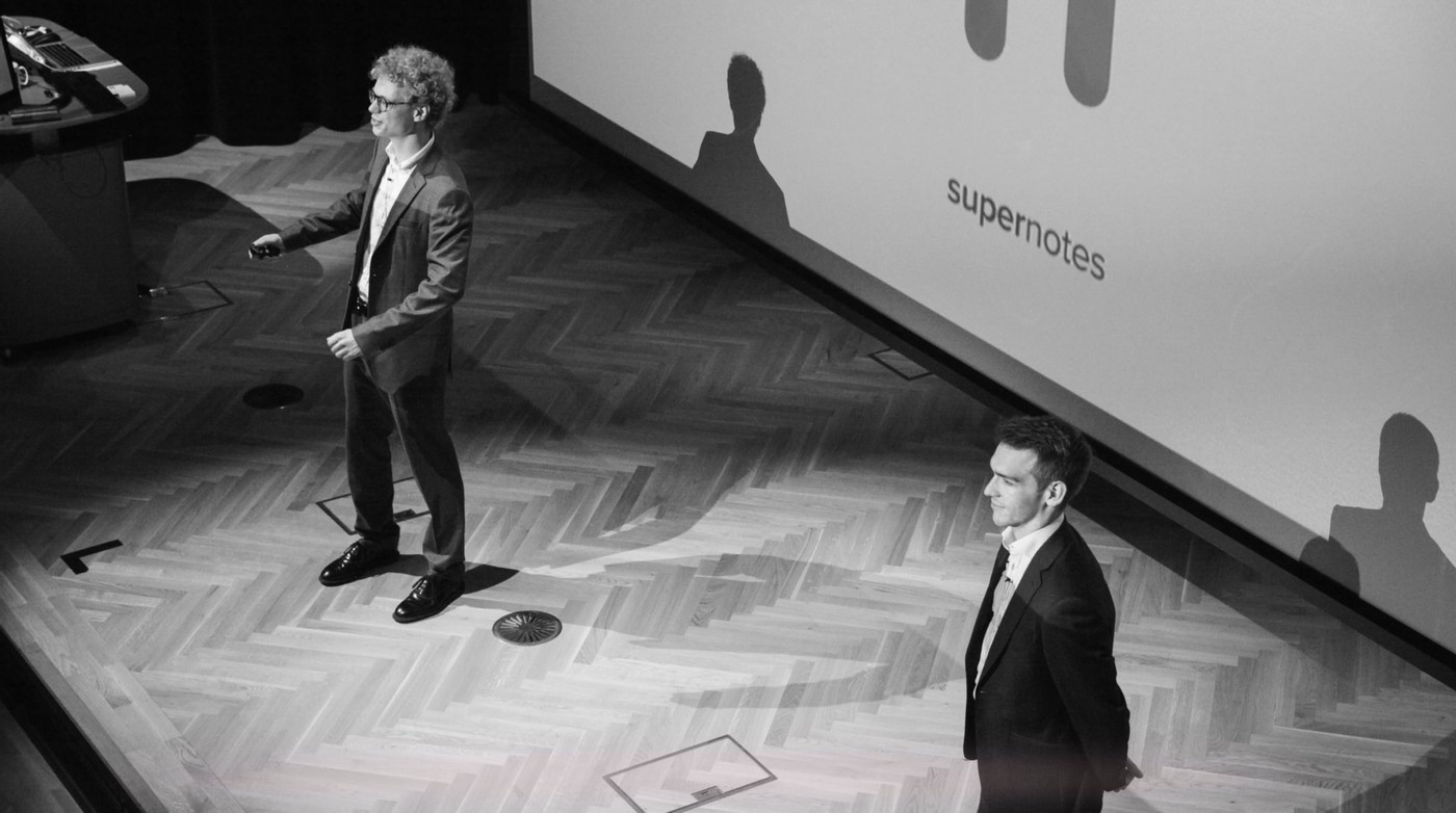 Tobias and Connor presenting Supernotes back in 2018
