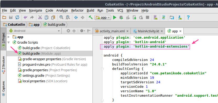 Menambahkan plugin android extensions pada proyek android