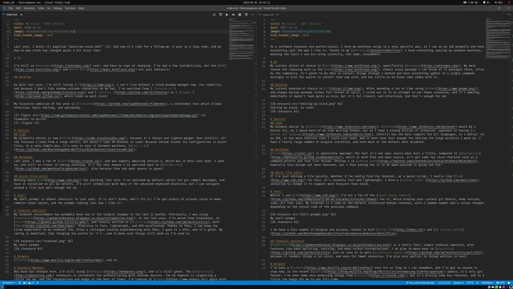 Editing my stack, in VSCode