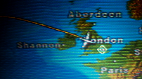 Flight screen on arrival to London Heathrow