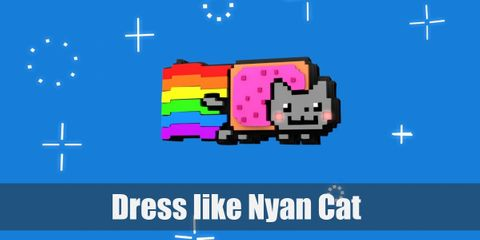 Nyan Cat is an animated cartoon cat with a Pop-Tart for a torso or lower part. When it's flying through the space, Nyan Cat will leave a rainbow trail behind it as a trace.